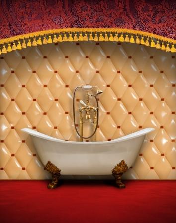 bath room: Interior of vintage style bathroom Stock Photo