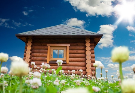 Beautiful day landscape with small house on flowers meadow photo