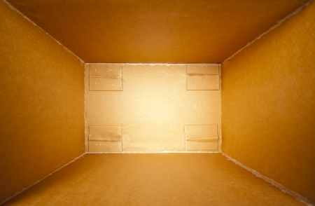 Big cardboard open delivery box. Perspective view Stock Photo - 18032978