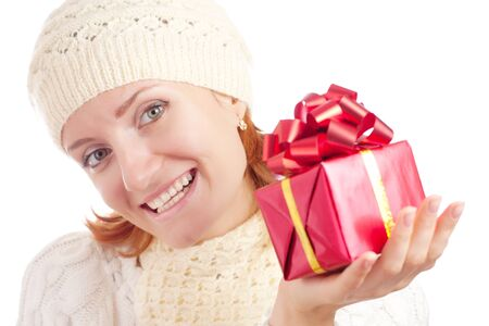 Beautiful smiling woman with gift. Isolated on white Stock Photo - 18055798