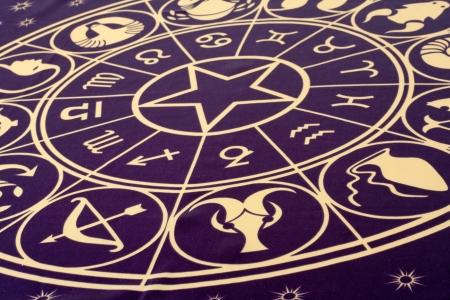 astrologie: Wheel of Zodiac Symbole auf Textil gedruckt Lizenzfreie Bilder
