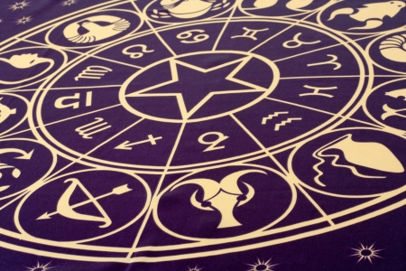Ruota dei simboli dello zodiaco stampato su tessuto