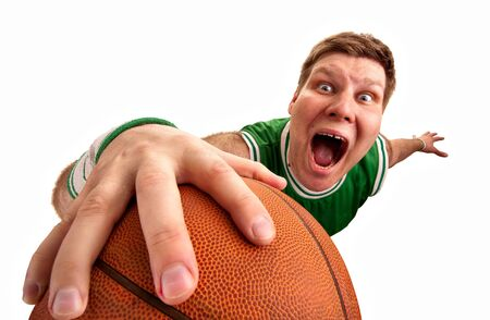 bizarre: Portrait of bizarre basketball player shooting ball to basket. Isolated on white Stock Photo