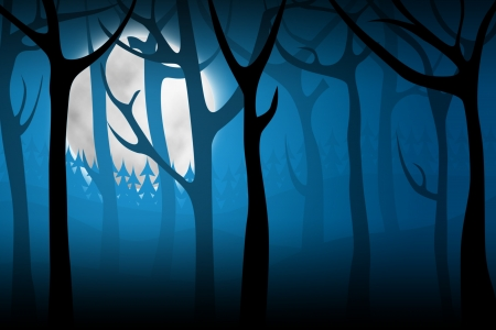 terrify: Terrify night forest with big moon on background Stock Photo