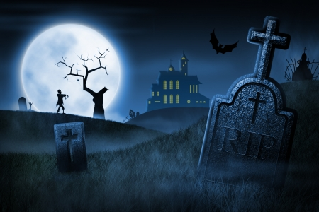 halloween background: Spooky Halloween night. Foggy cemetery and haunted house on background