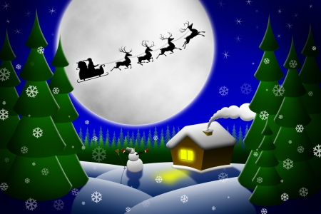 Illustration of Christmas night. Santa and his reindeers riding against moon illustration