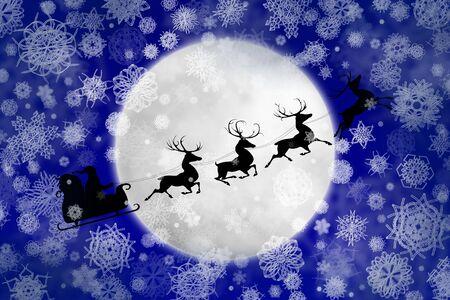 Welp Silhouet Van Kerstman In Slee En Zijn Rendieren. Geà ¯ Soleerd IX-74