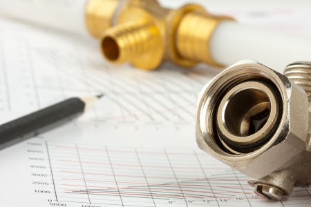 documentation: Plumbing supplies - pipes, pencil, documentation and valves