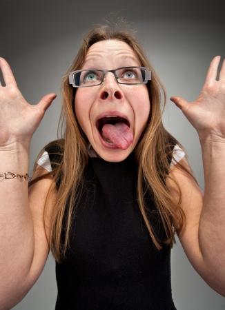 insane: Portrait of a insane attractive business woman