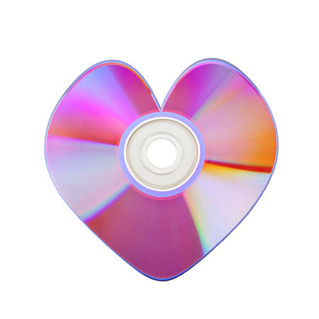 baclground: Close-up of colorful CD heart isolated on white baclground