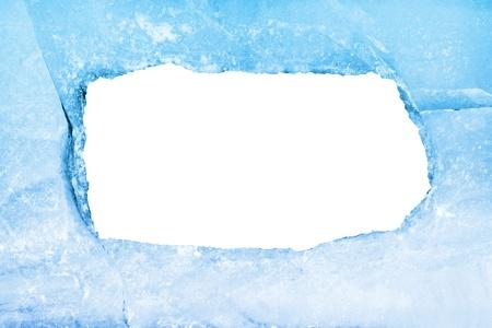icily: Empty frame of blue ice. Isolated on white Stock Photo