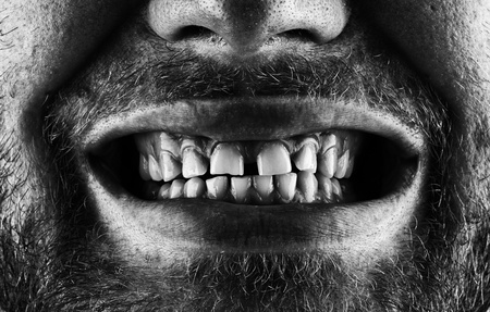 Close-up of a scary screaming bearded mouth Stock Photo - 18033399