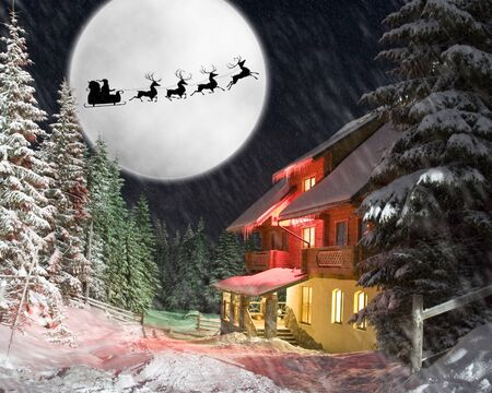 Christmas night. Santa and his reindeers riding against moon photo