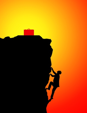 endurance: Silhouette of businessman climbing for briefcase at sunset