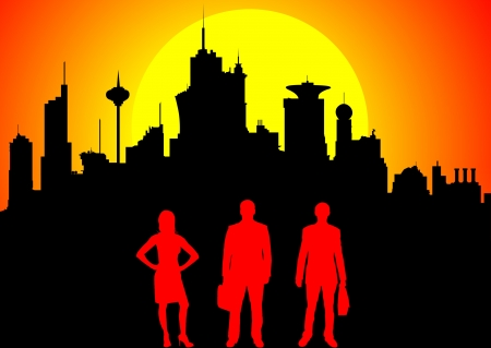 orange county: Silhouette of business team against downtown at sunset Stock Photo