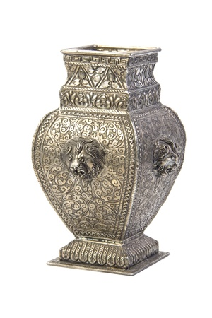 decorative urn: Silver vase. Isolated Stock Photo