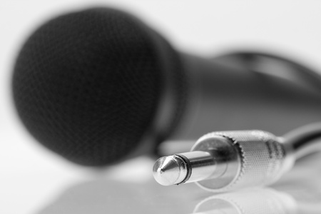 Cable plug with professional microphone on background Stock Photo - 18032801