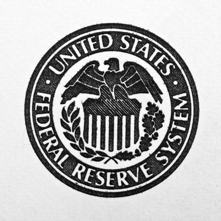 Close-up of United States Federal Reserve System symbol