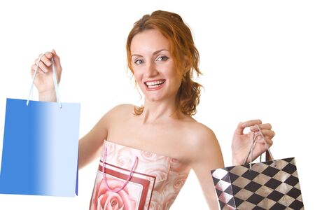 Great shopping. Smiling happy woman with bags Stock Photo - 18055795