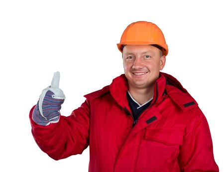 Happy worker isolated on white Stock Photo - 18055854