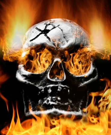 Very scary flaming skull. Concept of horror photo