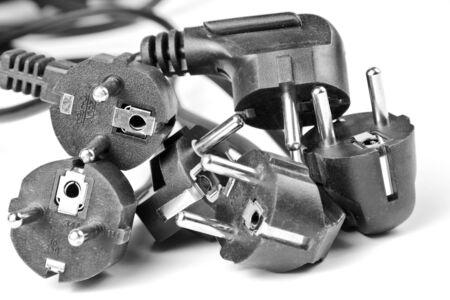 Heap of black electrical plugs Stock Photo - 18050837