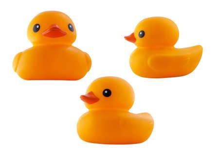 rubber  duck: Pato de goma aislado en el fondo blanco