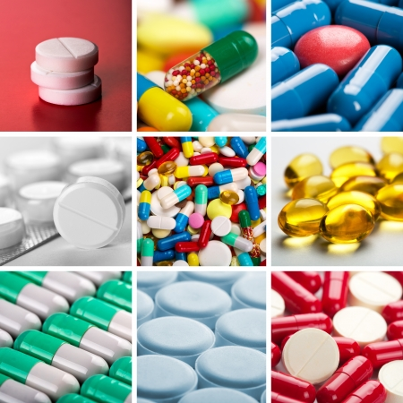Collage of different colorful pills Stock Photo - 18075125