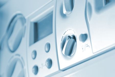 tablero de control: Panel de control de la caldera de gas Foto de archivo