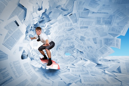 folder with documents: Confident surfer riding the barrel of documents wave