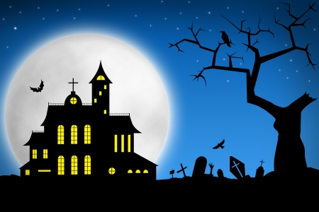 Spooky Halloween night. Tree on cemetery and haunted house against big moon photo
