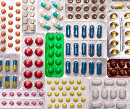 Various pills. Background or texture photo