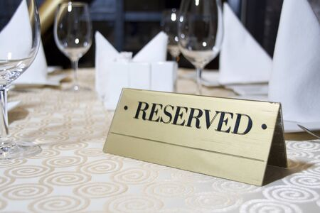reserved sign: Reserved sign on the table