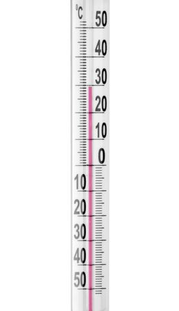 Close-up of a thermometer. Isolated on white photo