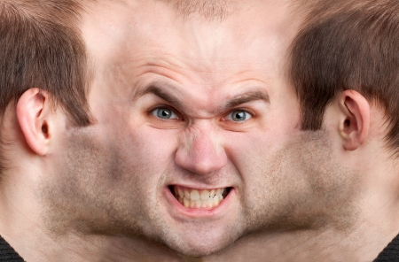 multiple image: A panoramic face of very angry man