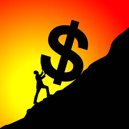 pulling money: Silhouette of businessman moving up the dollar symbol Stock Photo