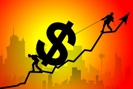 struggling: Silhouette of business team moving up the dollar symbol against city Stock Photo