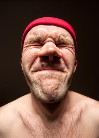ojos tristes: Close-up retrato de hombre muy estresado divertido Foto de archivo