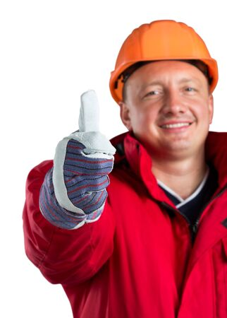 Happy worker isolated on white Stock Photo - 18103430
