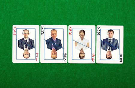 Business team on gambling cards photo