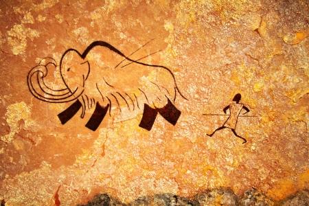 pintura rupestre: Pintura rupestre de la caza del hombre primitivo de mamut