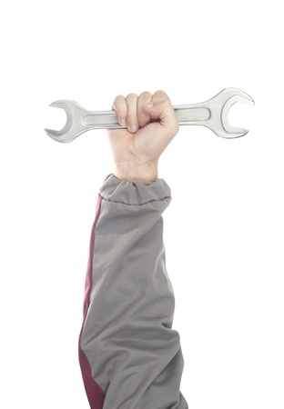 Repairman hand with wrench isolated on white Stock Photo - 18103187