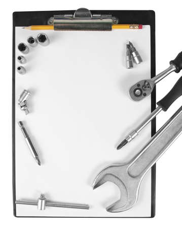 forkwrench: Worker clipboard and tools isolated on white Stock Photo
