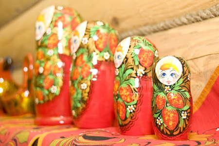 nested: Set of nested dolls on the shelf