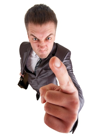 angry man: Furious business man. Isolated on white background
