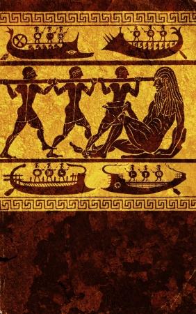 ancient civilization: Antique wall engraving of greek mythology