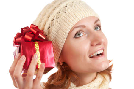 Happy smiling woman with gift. Isolated on white Stock Photo - 18103390