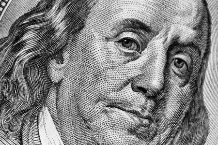benjamin franklin: Close-up of one hundred bill Franklin portrait Stock Photo