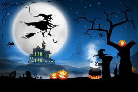 halloween silhouette: Spooky Halloween night. Witches cooking bat soup on foggy cemetery Stock Photo