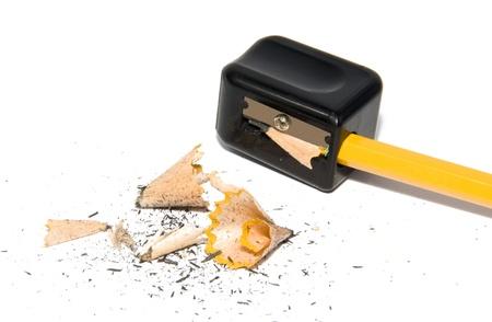 sacapuntas: afilando el lápiz closeup macro Foto de archivo